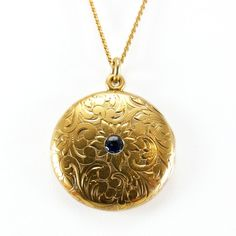 Antique 14K Gold Edwardian Sapphire Floral Engraved Locket Pendant from vintagegems on Ruby Lane