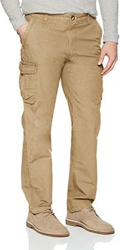 Lutratocro Mens Straight-Leg Autumn Multi Pockets Solid Cargo Trousers Pants