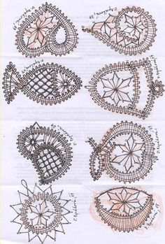 vlákna, nite, vlna a ja: Hadík - luyipaspattern Crochet Snowflake Pattern, Crochet Motifs, Crochet Patterns, Loom Patterns, Crochet Shawl, Irish Crochet, Diy Crochet, Bruges Lace, Bobbin Lacemaking