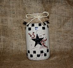 looking for something to do with mason jars how about crackle pip berry with checks we can do that for you here at vintage primitives on facebook.
