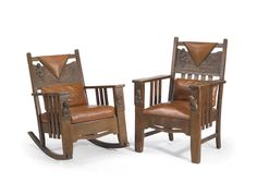 American Arts and Crafts carved oak upholstered chairs, Shop of the Crafters attribution, early 20th century
