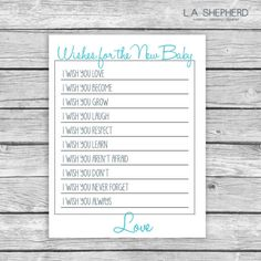 Baby Shower Printable Game  Wishes for Baby by LAShepherd on Etsy, $10.00