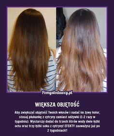 SUPER TRIK NA WIĘKSZĄ OBJĘTOŚĆ TWOICH WŁOSÓW! Homemade Cosmetics, Clear Skin, Hair Hacks, Salons, Life Hacks, Beauty Hacks, Health Fitness, Hair Color, Hair Beauty