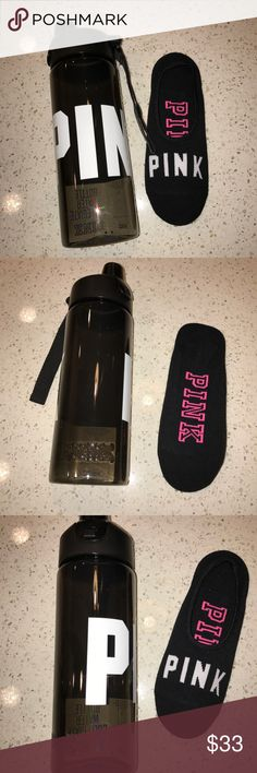 Vs Victorias Secret Pink Socks & Water Bottle Product Details Vs Victorias Secret Pink Socks & Water Bottle Black & White Score this sweet deal for a limited time! Included; 32 oz. water bottle and one pair of no-show socks.   Water bottle: 32 oz.  Fits most cup holders  Socks: One size fits all  No show style  Imported. Sock: nylon/polyester/spandex. Water bottle: plastic; BPA-free PINK Victoria's Secret Other