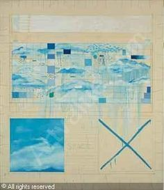 Pat Steir (American, b. The Four Directions of Time Four Directions, Waterfall Paintings, Multiple Images, White Paints, Printmaking, Grid, Abstract Art, Clouds, Canvas