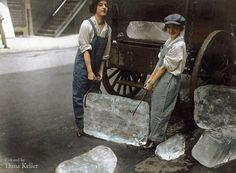 Women Delivering Ice, 1918 Original photo by War Department/National Archives Colourized by Dana Keller