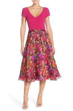 Theia Mixed Media Fit & Flare Midi Dress