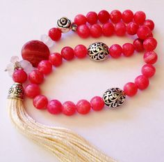 Turkish Islamic 33 Prayer Beads, Tesbih, Tasbih, Misbaha, Sufi, Worry Beads, Relaxation, Pocket Beads - Rhodochrosite, Love, Balance on Etsy, $38.00