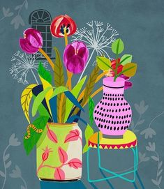 Cactus Illustration, Floral Illustrations, Illustrations And Posters, Decoupage, Arte Popular, Arte Floral, Abstract Wall Art, Oeuvre D'art, Collage Art