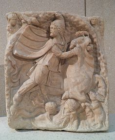 Votive relief to Mithras, the oriental god Mithras kills the sacred bull and from its blood and semen arise the plants and animals, 2nd century AD, Neues Museum, Berlin