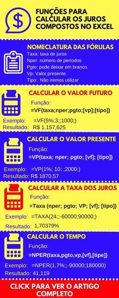 funções para calcular os juros compostos no excel