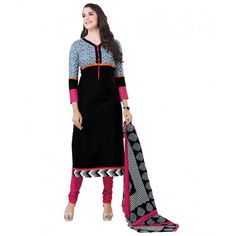 Cambric Cotton Black Churidar Suit Dress Material - 5491914