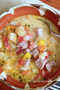 Traditional Romanian Sour Soup with Pork and Vegetables Traditional Romanian Pork Soup With Vegetable-This Traditional Romanian Sour Soup with Pork and Vegetable is a recipe that uses a variety of vegetables, pork, sour cream and vinegar. Pork Soup, Chicken Soup Recipes, Pork Recipes, New Recipes, Favorite Recipes, Polish Recipes, Scottish Recipes, Turkish Recipes, Romanian Recipes