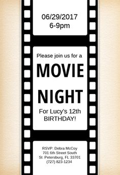 Movie Night D Title Sticker   Movie Night Party
