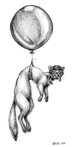 Flying Ferret print with mat — Celeste Sneed