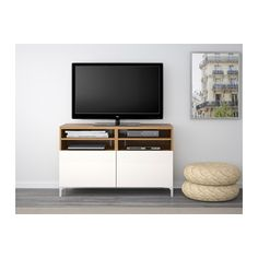 BESTÅ TV bench with doors - oak effect/Selsviken high-gloss/white - IKEA