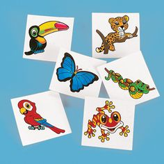 72 Rainforest TATTOOS Temporary SAFARI Jungle ANIMAL Party Favors Goody Bag