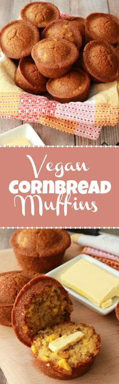 Golden brown vegan cornbread muffins. Savory and a little sweet, perfectly moist and crumbly. Divine with vegan butter! Vegan | Vegan Breakfast | Vegan Sides | Vegan Recipes | Savory Vegan | Vegan Food