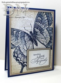 Unfrogettable Stamping | CAS Swallowtail sympathy card, option 2  http://unfrogettablestamping.typepad.com/my_weblog/2014/08/swallowtail-sympathy-cards.html
