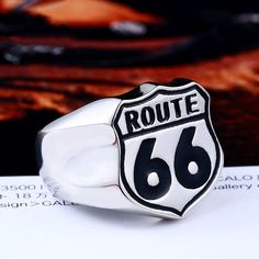 USA Biker Road ROUTE 66 Stainless Steel Ring LLBR8-126R Price: $26.16  See here: http://ift.tt/2GHJpvv