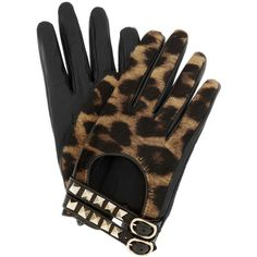 Valentino Rockstud leather and calf hair gloves ($575) ❤ liked on Polyvore