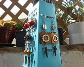 Earring Stand holder, One time cheese grater, Now fancy surrealistic object, Turquoise with beads on wire and Ceramic Red Horns