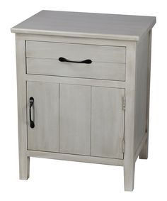 Another great find on #zulily! Distressed White One-Drawer One-Door Accent Stand by Privilege #zulilyfinds
