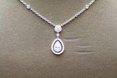1.27 CT Pear Shape Diamond Pendant, 18k White Gold, & 18K CHAIN,  P1274 #Pendant