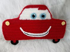 Cute decoration for a little boys room. Lightening Race Car Crochet Wall Plaque