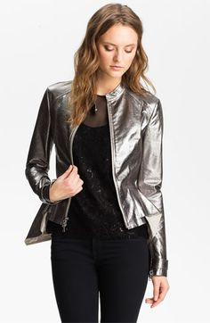 Robert Rodriguez Silver Leather Peplum Jacket available at #Nordstrom
