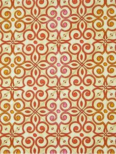 "Interlocked Mango.  Waverly Fabric Moorish Modern Collection. 100% heavy cotton sateen multi purpose decorating fabric.6.75"" up the roll repeat. 403282 Made in U.S.A. 54"" wide."