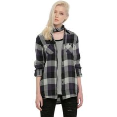 Hot Topic Purple & Ivory Plaid Girls Woven Top ($22) ❤ liked on Polyvore featuring tops, long sleeve shirts, purple button up shirt, button-down shirt, plaid button-down shirts and long sleeve button down shirts
