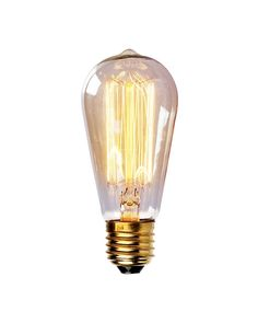 Enjoy a touch of period home ambience with one of our vintage Edison bulbs. Its diamond filament and slight tint creates a warm and welcoming glow that provides authenticity to any sophisticated interior.Faithfully recreated from historic designs, these light bulbs look great in any exposed light socket such as chandeliers, sconces or socket pendants. Brass E26/E27 screw base with clear glass bulb will assure them a 3000 hours average service life.