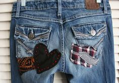 Jeans boho hippie OOAK custom patched embroidered by Breathe1960, $135.00