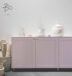 A.S.Helsingö Ensiö sideboard in Blush Rose. Parasol handles in Copper. Built on IKEA METOD cabinets.