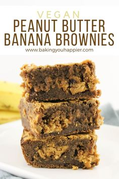 Vegan Peanut Butter Banana Brownies, loaded with peanut butter, chocolate, and bananas! These bars are a delicious alternative to traditional banana bread! dessert recipes ever delicious food Vegan Peanut Butter Banana Brownies Vegan Dessert Recipes, Brownie Recipes, Healthy Vegan Desserts, Dairy Free Gluten Free Desserts, Ripe Banana Recipes Healthy, Bread Recipes, Vegan Baking Recipes, Gluten Free Banana, Healthy Foods