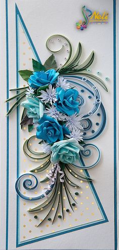 neli: Quilling card with roses ( 9 cm - 20 cm ) Más Neli Quilling, Quilled Roses, Quilling Craft, Quilling Ideas, Quilling Comb, Paper Quilling Tutorial, Paper Quilling Patterns, Flower Cards, Paper Flowers