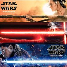 3 Brand NEW !!! Character Movie Banners from Star Wars: The Force Awakens Featuring Rey, Kylo Ren, & Finn. Star Wars