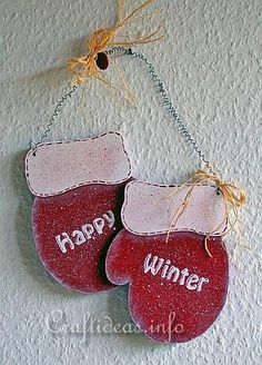 Christmas Wood Crafts | Christmas Wood Craft - Wooden Mittens Door Decoration - Happy Winter 2
