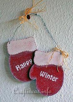 Christmas Wood Crafts | Christmas Wood Craft - Wooden Mittens Door Decoration - Happy Winter 2