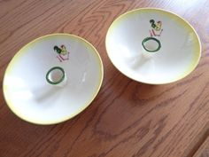 TWO Brock California Yellow Farmhouse Chanticleer Rooster Footed Candle Holders #BrockCalifornia