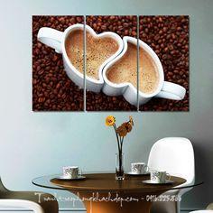 Mẫu tranh tách cafe tình yêu hợp treo quán cafe