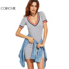Striped Trim Grey Casual Tee Dress Basic Short Sleeve Women V Neck Sexy Summer Dresses Brief Mini Bodycon Dress