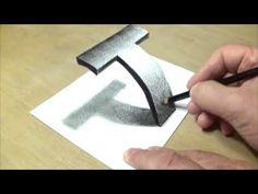 How to Draw Letter T - Drawing 3D Letter T - Trick Art with Graphite Pen...
