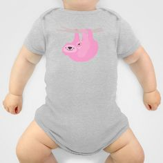 Pink sloth with baby Onesie by Darish - $20.00