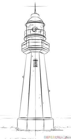How to draw a lighthouse   Step by step Drawing tutorials