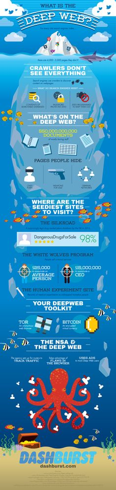 Infographic showing what hides in the Deep Web. Includes things like silk Road and assassination! Scary stuff!