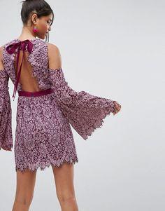 ASOS Bow Back Lace Extreme Sleeve Mini Dress - Pink