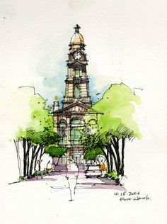 Urban sketch by Land8 member Chunling Wu.