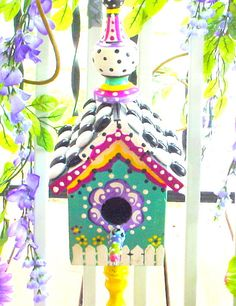 Ornate Wooden Birdhouse Whimsical Bird House Mad by BuzyBeeBlooms, $49.95